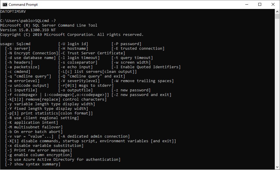 cómo usar SQLCMD